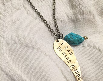 I can do hard things - handstamped brass wing necklace with turquoise howlite - Ready to Ship