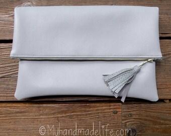 Matte Light Gray Vinyl Foldover Clutch | Cute Clutch Bag | Black Tie | Simple Clutch | Gift Under 40 | Bridesmaid | Wedding | Shower Gift