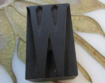 Letter W Antique Letterpress Wood Type Printing Block