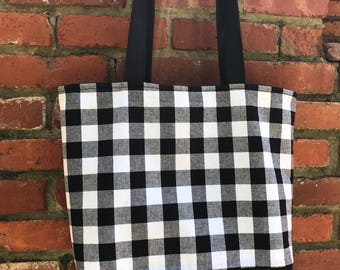 Large Black and White Gingham Check Tote Bag