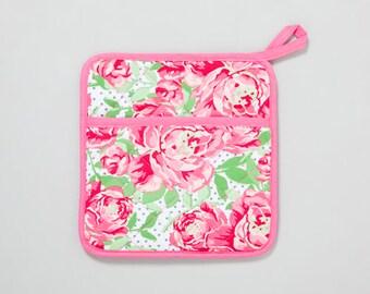 Pink Blooms Dots Pot Holder