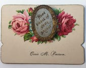 Antique Victorian Calling Card Hidden Photo Die Cut Roses with gold Silver