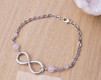 Infinity bracelet - Rose Quartz gemstone infinity symbol link silver chain bracelet | Quartz jewellery | Pink jewelry | Love bracelet