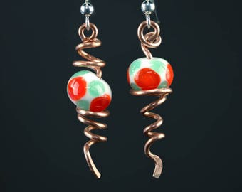 Abstract Berry Lampwork Bead and Copper Twisted Vines Earrings