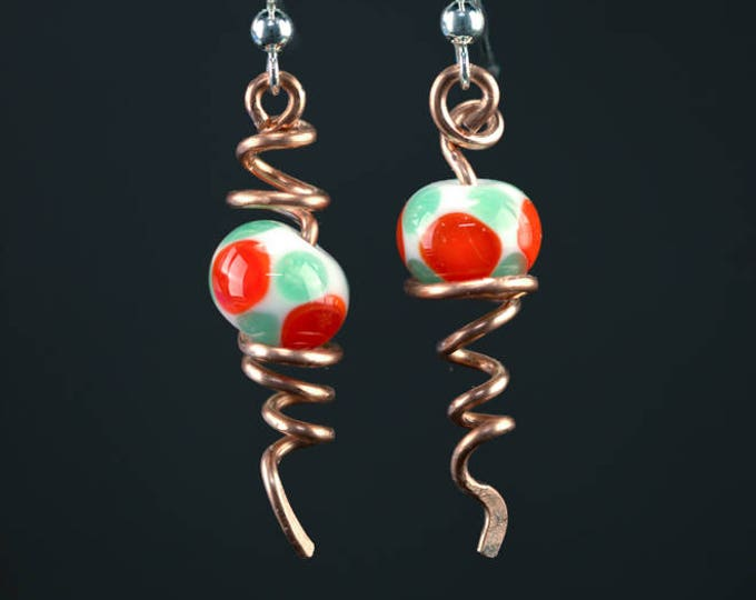 Featured listing image: Abstract Berry Lampwork Bead and Copper Twisted Vines Earrings