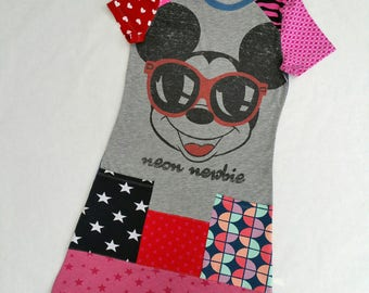 Size 14 upcycled girls mickey dress, girls clothing, children's clothing, kids clothes, kidswear, girl, teen dress, upcycling, girls dress