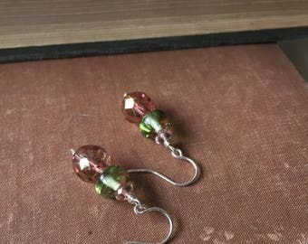 Pink and Green Drop Earrings. Sterling Silver Green and Pink Glass Beaded Earrings