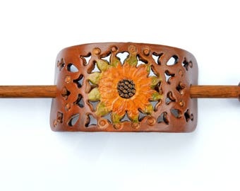 Leather Hair Stick, Retro, Sunflower Hair Accessory