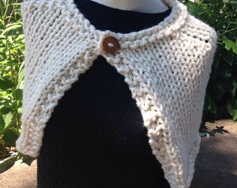 Cream Handknit Capelet Ivory Wrap Shawl with Reclaimed Wood Button