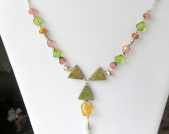 Gemstone Bib Necklace, Unikite and Citrine, Sterling Silver Tassel, Multi Gemstone, Abstract Fashion Necklace, Unique One of a Kind Gift