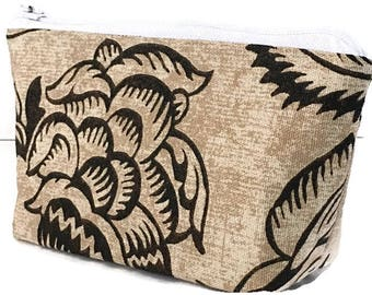 small makeup bag, zipper pouch, brown, tan, cosmetic organizer,pouch, deesdeezigns, zipper bag,