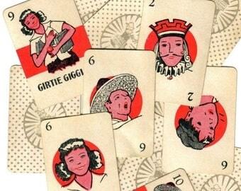 SALE 5pcs Antique 30s SLAP JACK Cards Tiny Fun