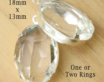 HALF PRICE SALE - Clear Glass Beads - 18x13 Oval Rhinestone Pendant or Earring Drops - Sheer Glass Gems - Jewelry Supply - One Pair