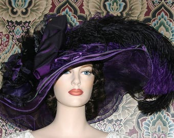 Kentucky Derby Hat Ascot Wide Brim Hat Edwardian Hat Tea Party Downton Abbey Hat - Purple Sunset - One of a Kind