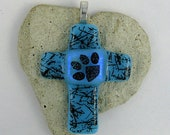 Blue with Black Squiggles with Paw Print on Dichroic Center of Cross Fused  Glass Pendant