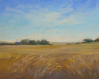 Plein Air Landscape from FRANCE Wheat Field Original Pastel Painting 5x7