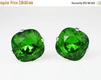 SUMMER SALE Fern Green Rhinestone Stud Earrings Swarovski Green Wedding Jewelry Flower Girl Earrings Bridesmaid Earrings