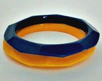 Vintage Plastic Bangle Bracelets - Set of 2 One Blue One Yellow Bangle Bracelet