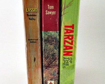 3 Whitman Children's 1950's/1960's Books / Lassie Forbidden Valley /Tarzan Of the Apes / Tom Sawyer / Vintage Book Props / Instant Library