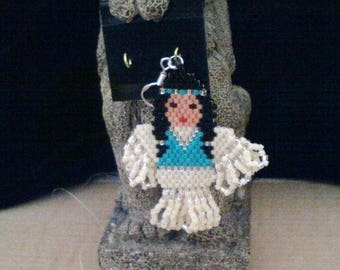 ON SALE Native American 'Indian Maiden' Seed Bead Earrings