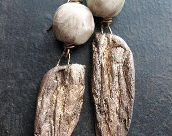 Adrift Earrings - Artisan Ceramic Driftwood and Indonesian Glass
