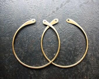 Antiqued Brass Open Teardrop Hoop Findings - 1 pair - 38mm