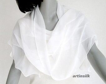 "White Long Scarf, Bridal Formal Wrap, Light Ivory Scarf, Sheer White Scarf, Long Chiffon Wrap, Pure Silk Shawl, Natural White Sash, 13""x76""."