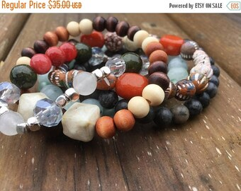 SALE- Beaded Stack Bracelets-Glass and Wood-Cuff Accessories-Boho Style-Earth