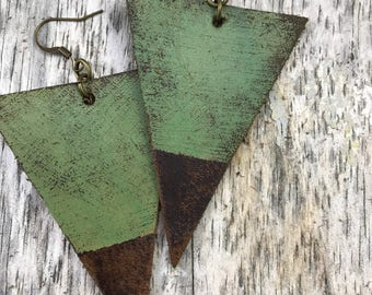 Painted Leather Earrings--Triangles-Boho Earrings-Mini Canvas-Green