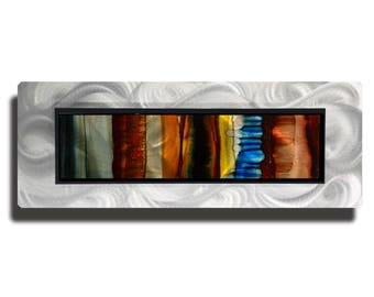 Blue, Yellow & Brown Modern Metal Art, Abstract Metal Wall Painting, Contemporary Wall Accent, One of a Kind Decor - JC 505C by Jon Allen