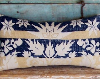 Antique Coverlet Pillow, Farmhouse Decor, Large Rectangle Pillow, Rustic Pillow, Vintage Ticking, Americana Cottage, READY TO SHIP