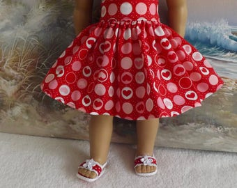 18 Inch Doll Will Fit American Girl Clothes Skirt Red White and Pink Hearts and Circles Very Fully Gathered 50s Style Skirt will Fit AG