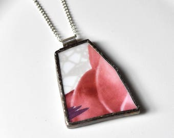 Broken China Jewelry Pendant - Pink and Grey Lace