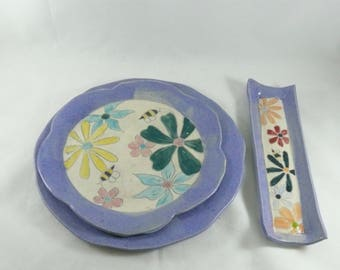 Dinner Plate Set, Save the Bees Serving dish, Snack trays, salad plate, side dish, sandwich plate, Colorado Pottery + Ceramics