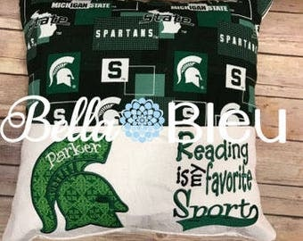 Michigan State University Reading Pillow, Spartans Reading Pillow with pocket, Personalized Michigan State Pillow, MSU, Officially Licensed