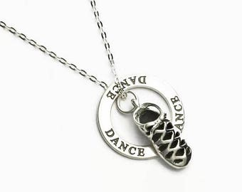 "Ghillie Dance Shoe Necklace with DANCE Message Ring All Sterling Silver 16"" or 18"" Cable Chain Boxed"