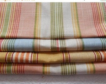 CLEARANCE - 4 pieces peach green multi woven fabrics, 10 x 10 inches