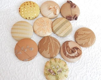 CLEARANCE - 11 gold beige fabric covered buttons, size 75