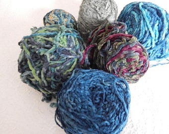 CLEARANCE - Blues and green chenille yarn, thick yarns, thin yarns, great for fringe and accents, over 1 pound of yarns