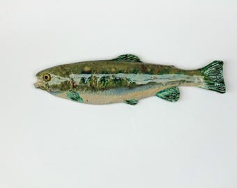Ceramic fish art trout decorative wall hanging