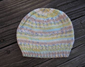 Baby Hat / Beanie Hand-Knitted in Self-Striping Soft Acrylic (newborn to three months size) OOAK