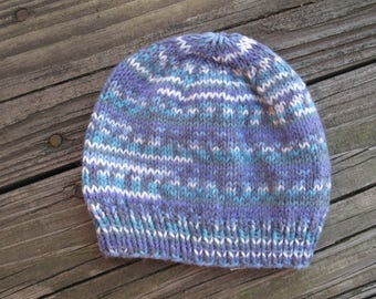 Baby Hat / Beanie Hand-Knitted in Self-Striping Soft Acrylic (three to six months size) OOAK