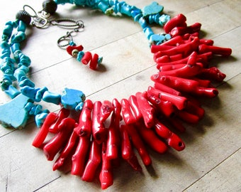 Fire & Water LUXE Vintage Coral Turquoise Howlite Necklace - Multi Strand Necklace - Etsy Jewelry - catROCKS - Statement - Grace and Frankie