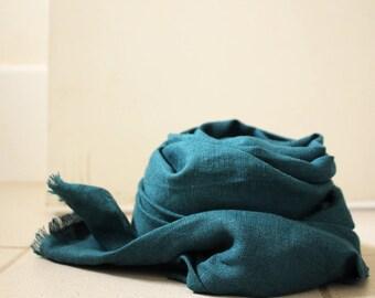 LINEN SCARF / dark turquoise scarf / handmade in australia / pamelatang
