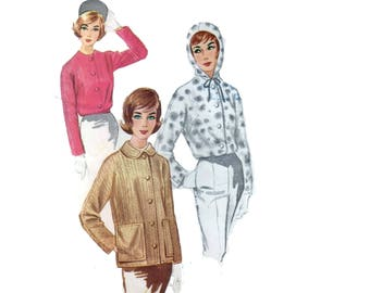 60s uncut Hoodie pattern Barn Coat pattern Jacket pattern vintage 34-26-36 Short Coat pattern McCalls 5959