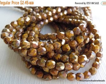 25% OFF Sale 4mm Czech Beads Firepolished Faceted Round - Opaque Yellow Bronze Picasso - 50 pcs