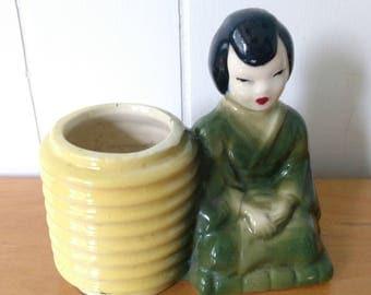 vintage Asian lady planter
