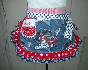 Womens Aprons - The First Avenger Aprons - Action Heros Aprons - Annies Attic Aprons - Marvel Comics Aprons - Super Soldier Project Aprons