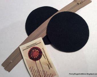Circle Purse Blanks Dark Green Wool and Tan Zipper
