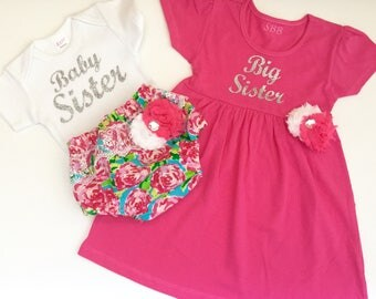 Big Sister Baby Sister OUTFITS .. hot Pink and sparkle silver -sister Set..new baby , baby shower